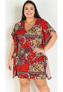 Vestido Arabescos Plus Size Amplo Com Amarração
