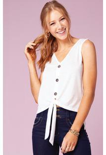 Blusa Branca Com Botões Na Frente