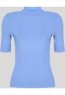 Blusa Feminina Mindset Canelada Com Frufru Manga Curta Gola Alta Azul Claro