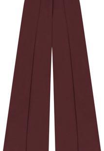 Calça Pantalona Cintura Alta Tecido Bordo Red Wine - Lez A Lez