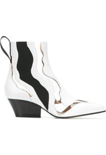 Sergio Rossi Ankle Boot De Couro Com Recortes - Branco