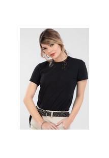 T-Shirt Ts0015 Traymon Com Elastano Bordada Preto