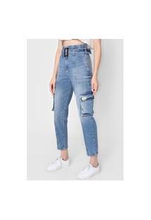 Calça Jeans Colcci Cargo Bolsos Azul