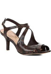 Sandália Couro Shoestock Snake Salto Médio Tiras Feminina - Feminino-Marrom