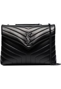 Saint Laurent Medium Loulou Leather Shoulder Bag - Preto