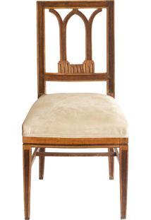 Cadeira Madeira Tecido Beige - 89X45X49