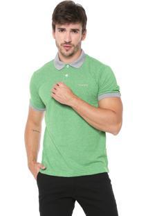 Camisa Polo Wrangler Reta Listrada Verde/Cinza