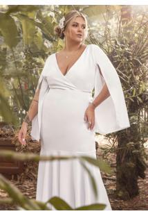 Vestido Longo Branco Com Manga Capa