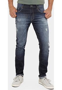 Calça Jeans Slim Fit Ellus Rasgos Stone Masculina - Masculino-Jeans