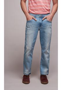 Calça Jeans Masculina Slim Com Puídos Jeans Claro