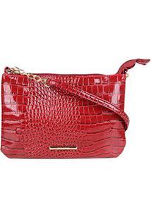 Bolsa Via Uno Mini Bag Alto Brilho Feminina - Feminino-Vermelho