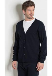 Suéter Preto Com Fechamento Em Botões Actual