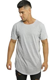Camiseta Di Nuevo Longa Moda Abaloada Básica Swag Lisa Cinza