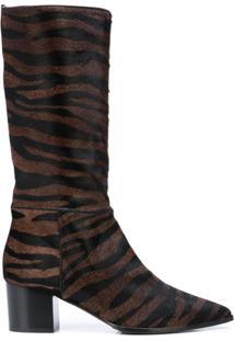 Alberto Gozzi Ankle Boot Com Padronagem De Zebra - Marrom