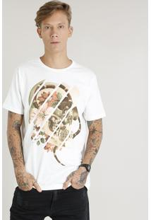 Camiseta Masculina Com Estampa De Caveira Manga Curta Gola Careca Off White