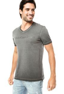 Camiseta Calvin Klein Jeans Desbotado Cinza