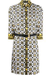 Versace Belted Print Shirt Dress - Branco