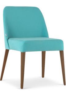Cadeira Rosini - Base Amãªndoa E Tecido Turquesa