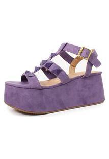 Sandália Plataforma Com Spikes Damannu Shoes Mika Suede Lilás