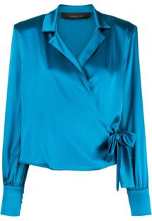 Federica Tosi Wrap Front Silk Blouse - Azul