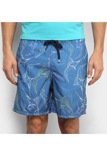 Bermuda Aleatory Pineapple Listras Masculina - Masculino-Azul+Rosa