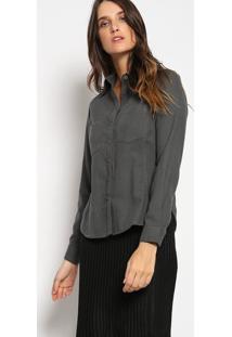 Camisa Texturizada Com Bolso - Cinza Escurovip Reserva
