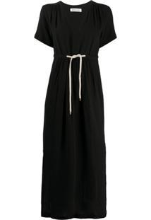 Masscob Vestido Gola V Com Amarração Na Cintura - Preto