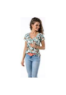 Camiseta Manga Curta Full Flowers Woman Off White