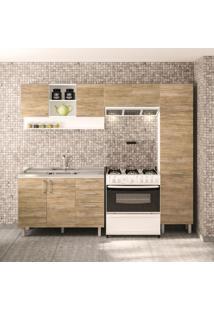 Cozinha Compacta Floripa Ii 8 Pt 3 Gv Branca E Carvalho Claro