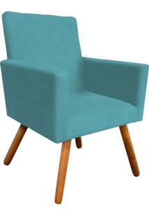 Poltrona Decorativa Nina Tressê Suede Azul D'Rossi