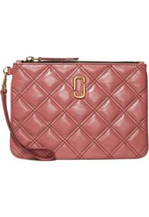 Marc Jacobs Carteira The Softshot Wristlet Matelassê - Rosa