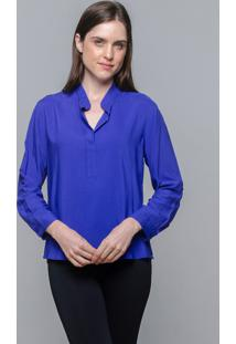 Camisa 101 Resort Wear Viscose Lisa Polo Azul