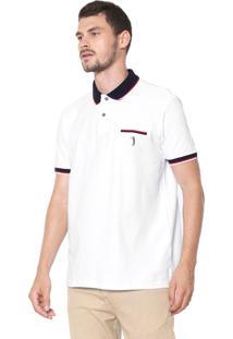 Camisa Polo Aleatory Reta Listras Branca
