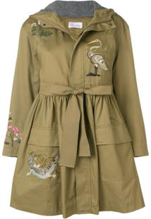 Red Valentino Jaqueta Parka Com Bordado - Green