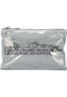 Calvin Klein 205W39Nyc Bolsa Clutch Com Estampa - Metálico