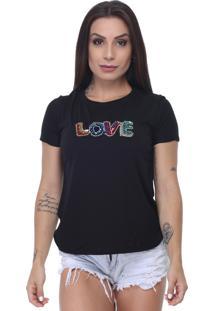 T-Shirt Tee Fashion Patche Love Preta