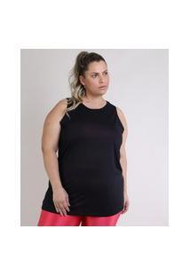 Regata Feminina Esportiva Ace Plus Size Alongada Preta