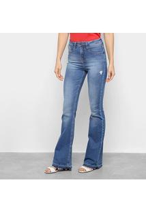 Calça Jeans Calvin Klein Flare Feminina - Feminino-Azul