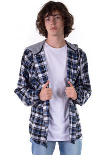 Camisa Flanela Xadrez Com Capuz Preta E Azul