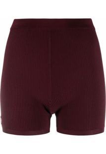Saint Laurent Ysl Plaque Ribbed Shorts - Vermelho