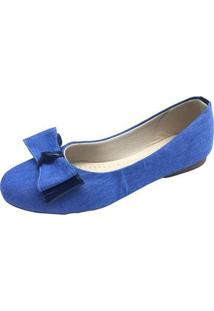 Sapatilha Megachic Jeans Laço Feminina - Feminino-Azul