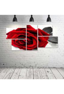 Quadro Decorativo - Rosa-Vermelha - Composto De 5 Quadros - Multicolorido - Dafiti