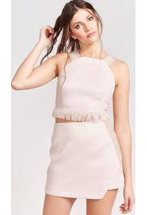 Blusa Cropped Em Tweed - Off Whitepop Up