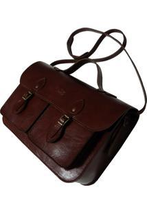 Bolsa Line Store Leather Satchel Pockets Média Couro Marrom Avermelhado - Kanui