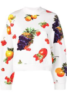 Msgm Blusa De Moletom Com Estampa De Frutas - Branco