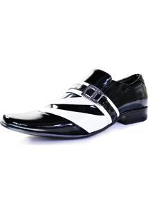 Sapato Social Verniz Gofer Masculino 632L Preto/Branco