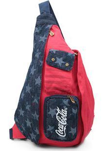 Mochila Transversal Coca-Cola American Flag Feminina - Feminino-Azul+Vermelho