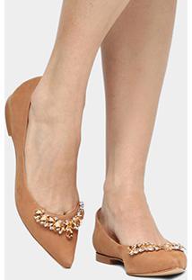Sapatilha Couro Shoestock Pedraria Feminina - Feminino-Caramelo