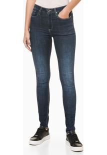 Calça Jeans Feminina Five Pockets Super Skinny Cintura Alta Azul Marinho Calvin Klein - 36