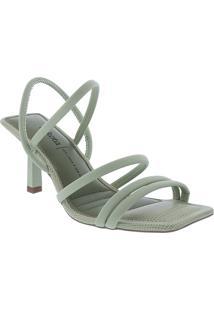 Sandália Dakota Salto Fino Texturizado Verde